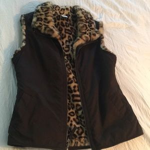 Gap vest, Cheetah print and Brown
